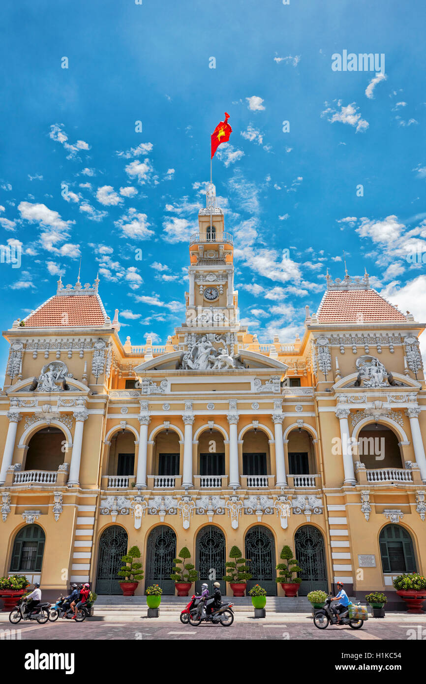 People's Committee Building. Le Thanh Ton street, Ho Chi Minh City, Vietnam. - Stock Image