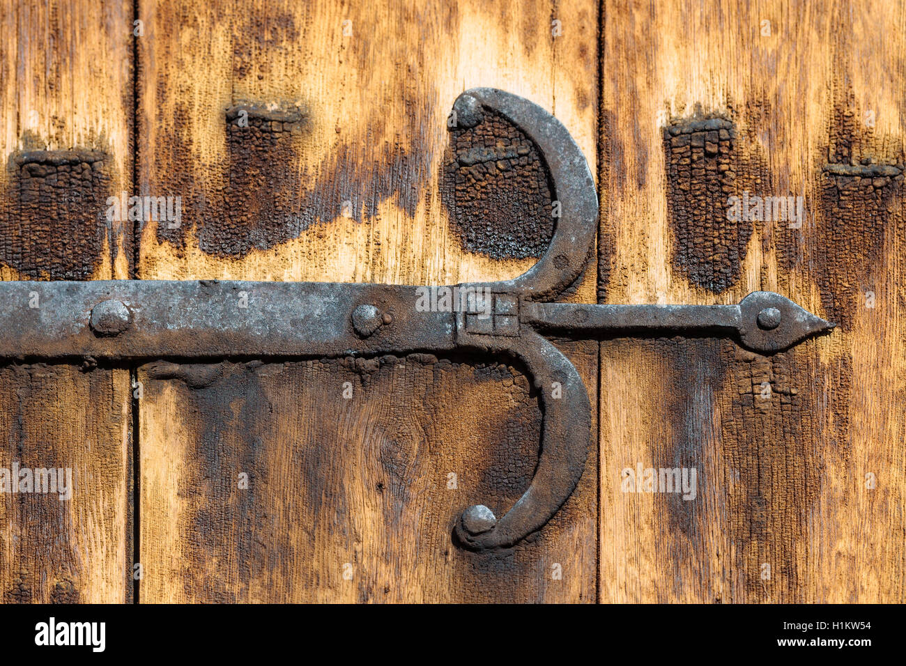 Iron door fitting, Stave Church Lom, Lom, Oppland, Norway - Stock Image