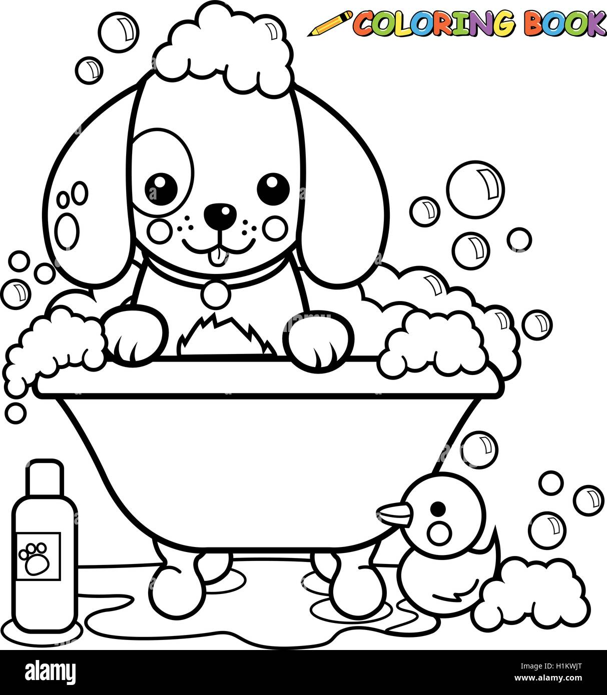 Dog taking a bath coloring book page Stock Vector Art & Illustration ...