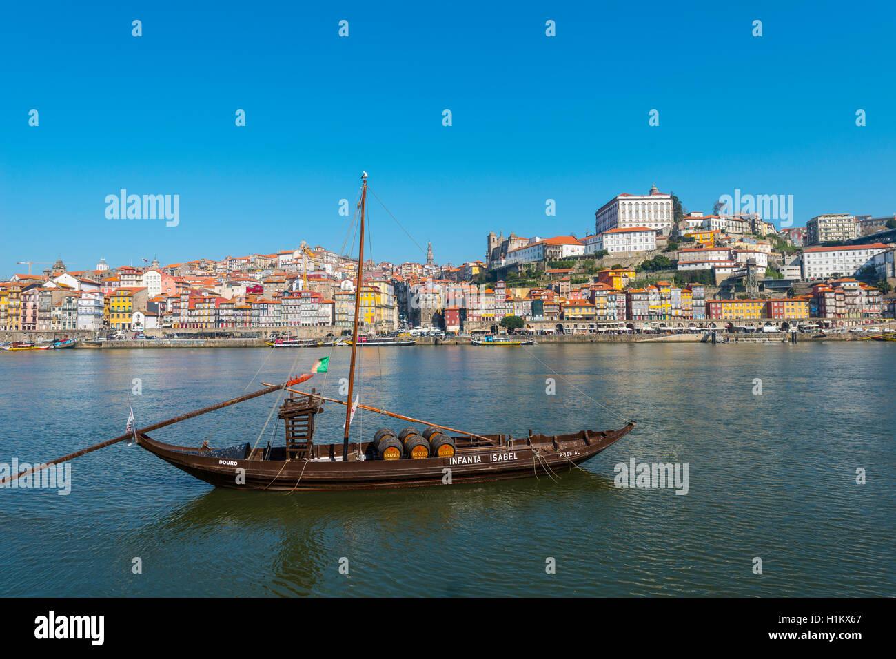 Rabelo boat, port wine boat on River Douro, Porto, Portugal Stock Photo