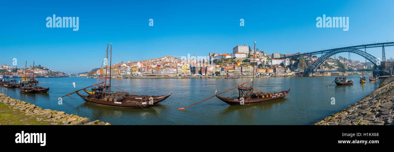 Rabelo boats, port wine boats on River Douro, Porto, Portugal Stock Photo