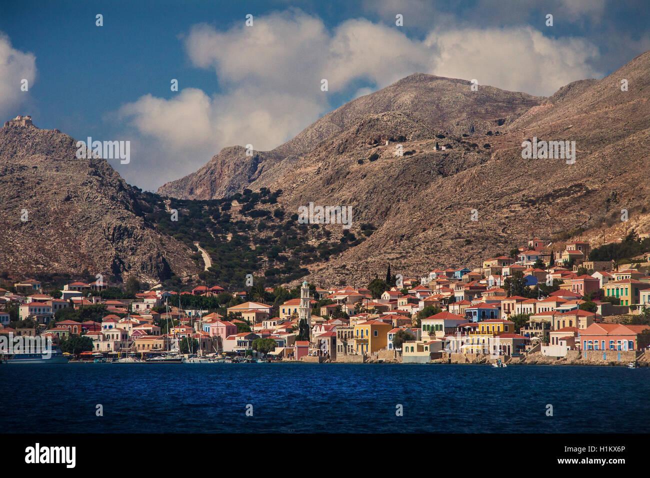 Halki Greece from the sea - Stock Image