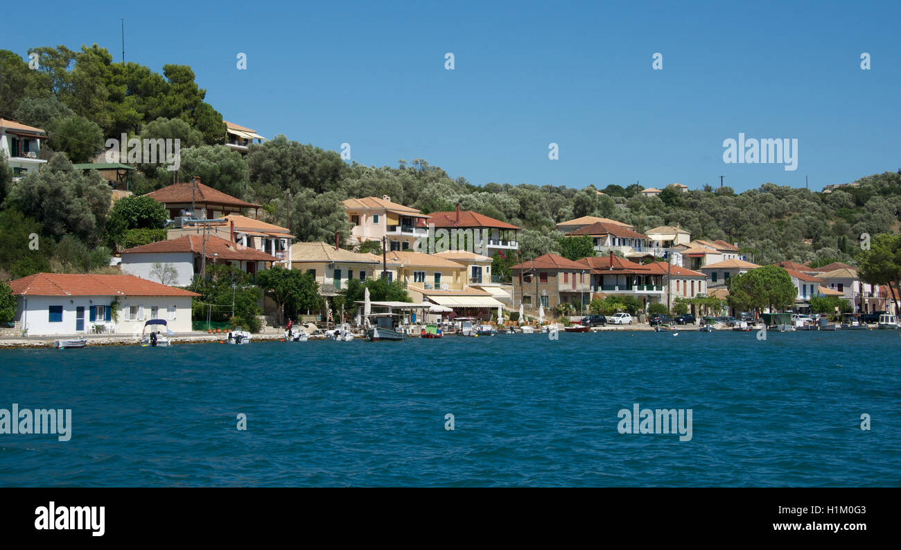 Waterfront Vathi Harbour Meganisi Island Ionian Islands Greece - Stock Image