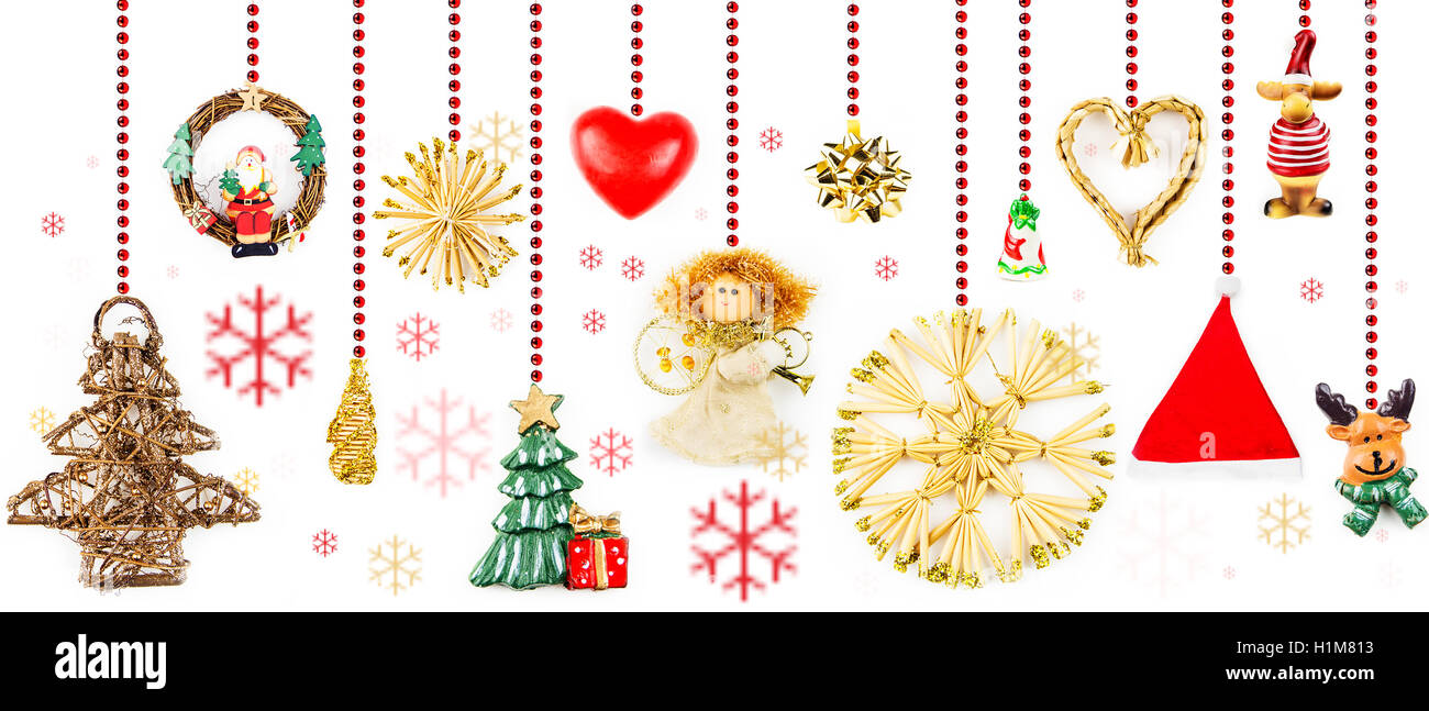 christmas decorations hanging on red chain on white background with multicolor snow flakes