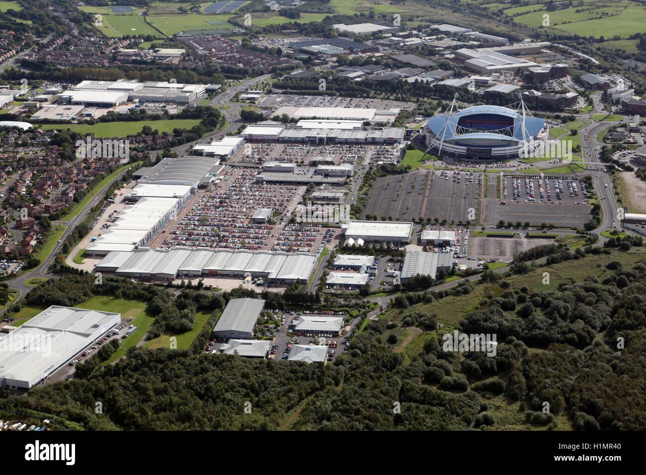 aerial view of the Reebok Stadium and Retail development at Bolton, Lancashire, UK - Stock Image