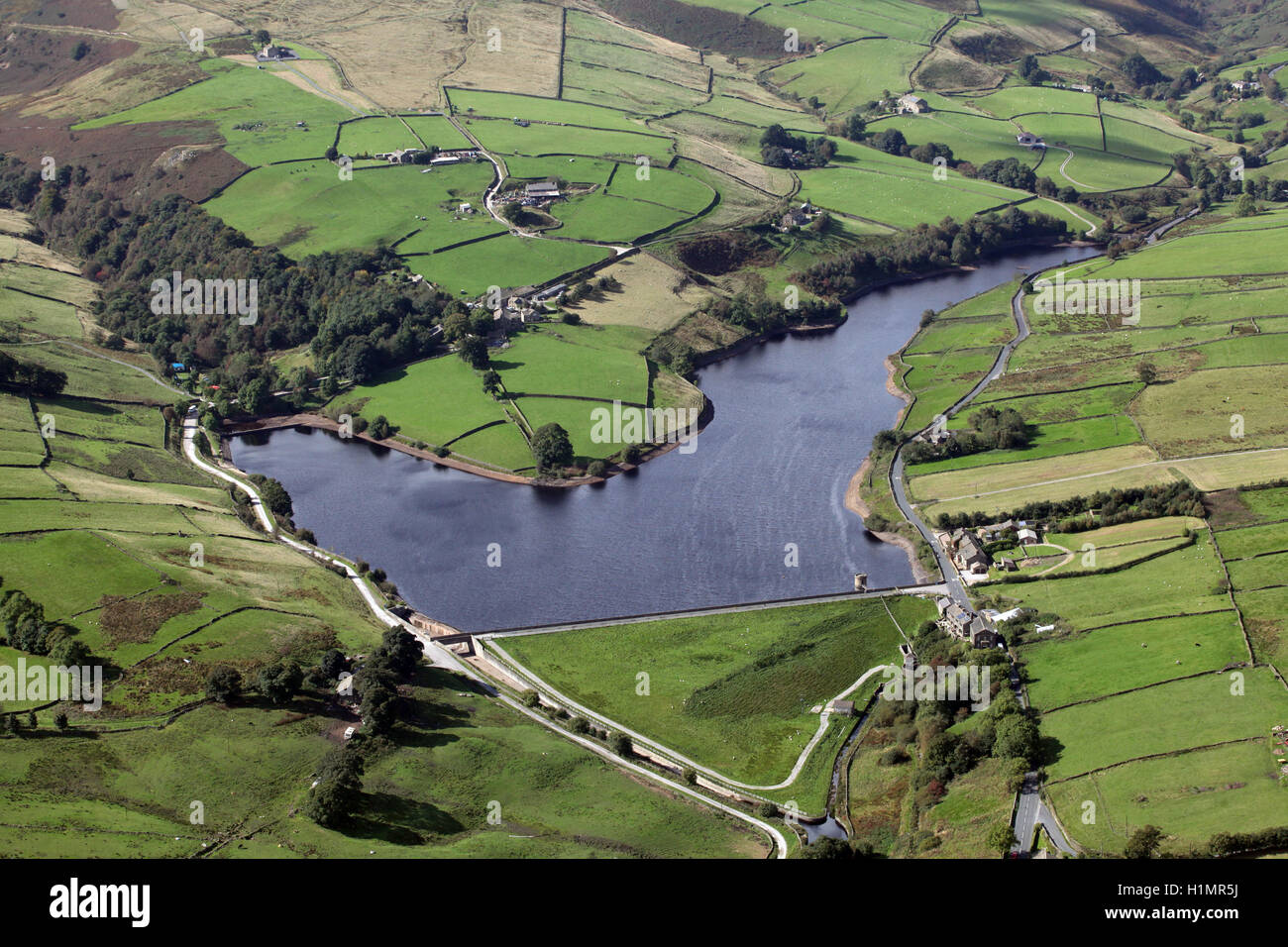 aerial view of Ponden Reservoir at Stanbury near Keighley, West Yorkshire, UK - Stock Image