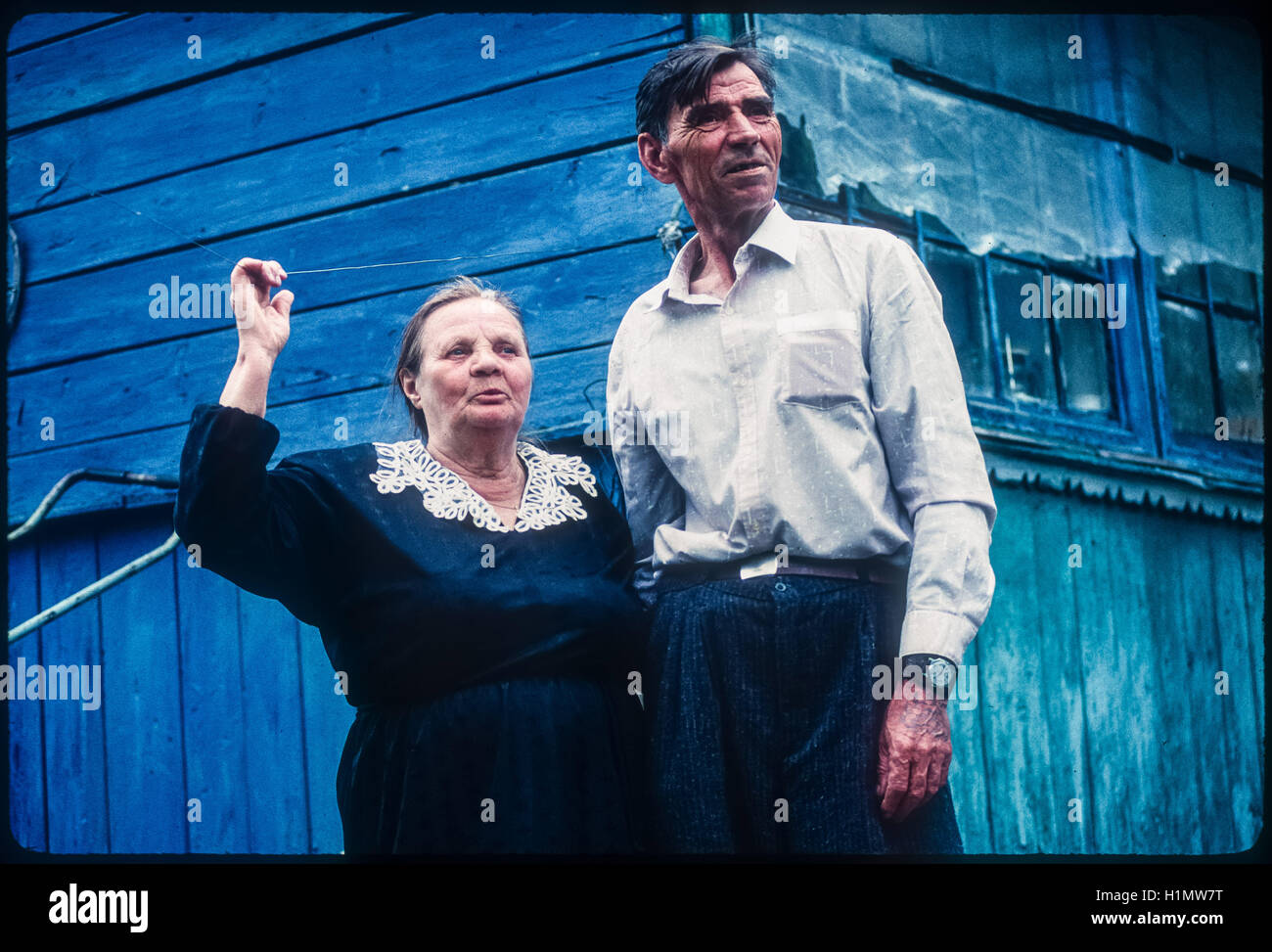 Residents of the city of Chernobyl, after the nuclear accident evacuees who have chosen to return to live in the - Stock Image