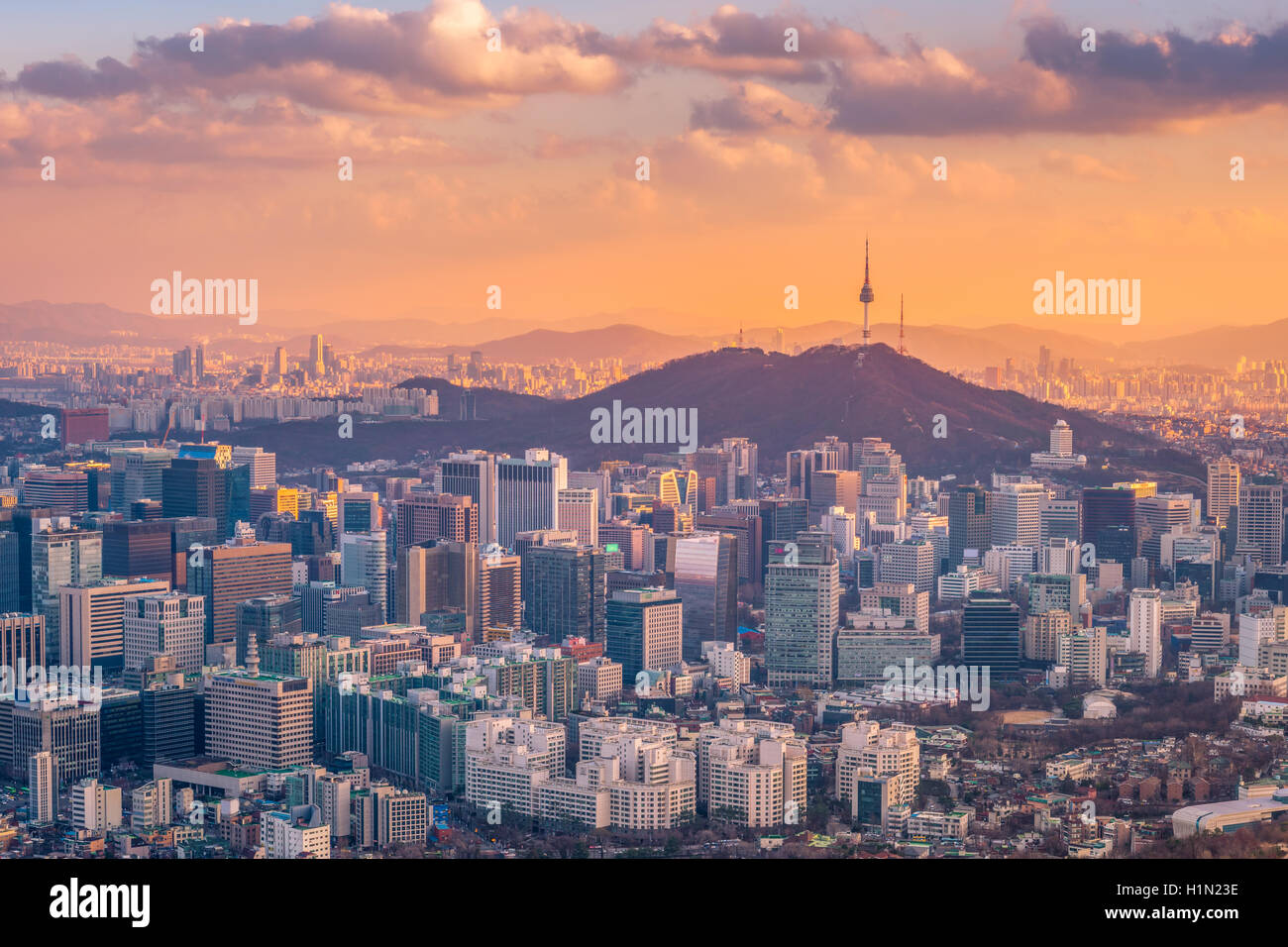 Seoul City Skyline,South Korea - Stock Image
