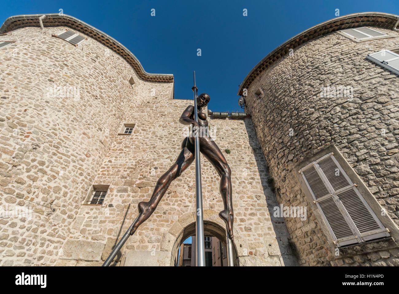 Sculpture by Nicolas Lavarenne , Portail de  l'Orme,  Antibes, Old City Center near Picasso Museum, Cote d Azur, Stock Photo