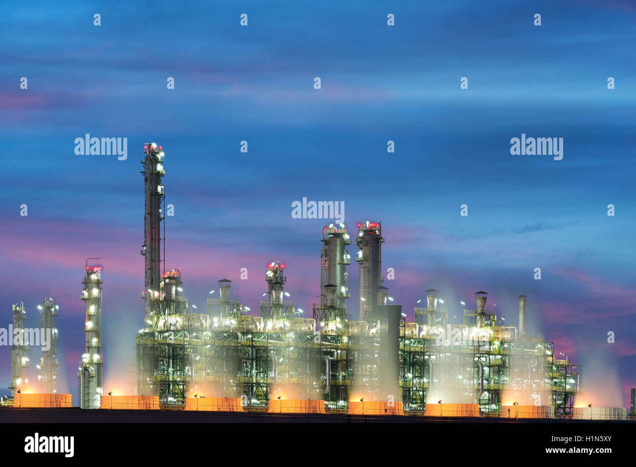 Landscape Boiler in stream power plant at night. Electricity power ...