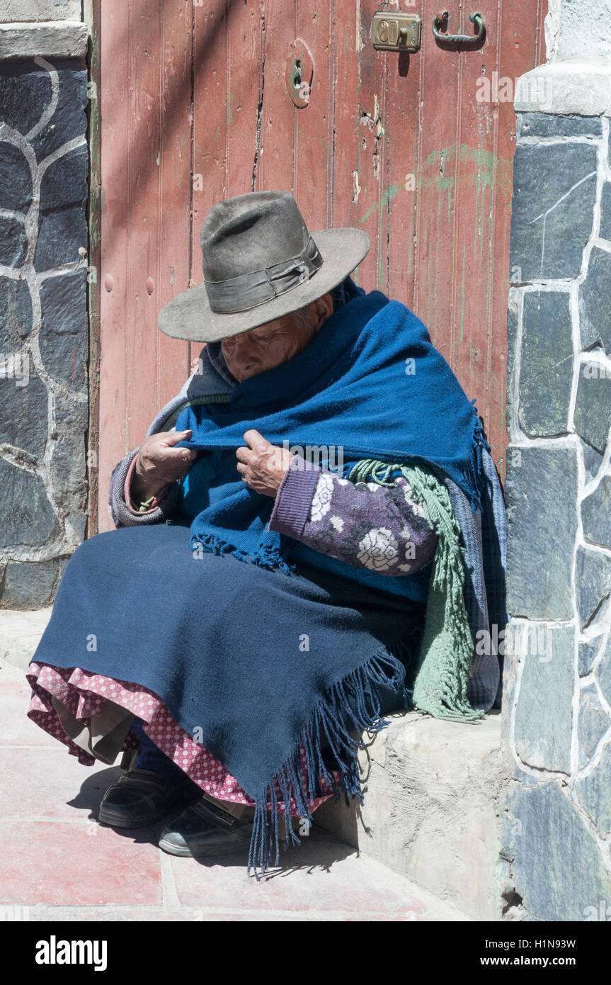 An introspective Bolivian woman in Potosi - Stock Image