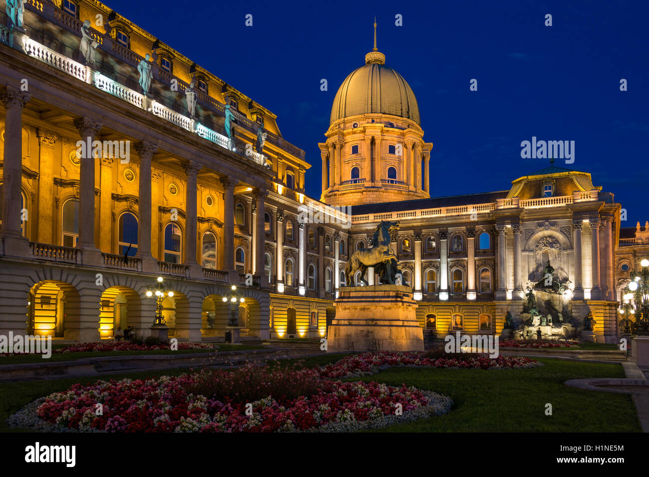 Buda Castle or the Royal Palace in the city of Budapest in Hungary. - Stock Image