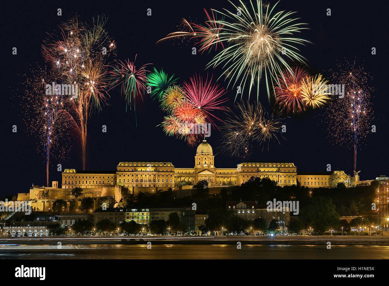 Fireworks display above Buda Castle or the Royal Palace in the city of Budapest in Hungary. - Stock Image