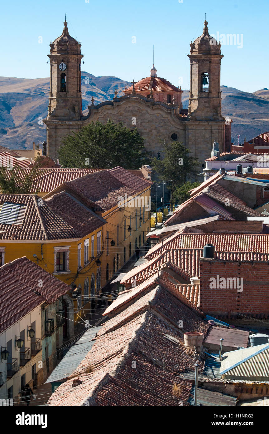 The Cathedral seen from the Convento San Francisco, Potosi, Bolivia - Stock Image