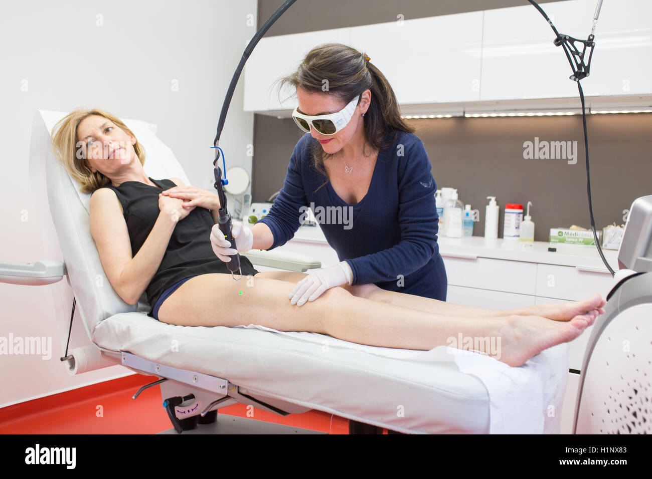 Vascular laser used in treatment of rosacea and varicosity. Stock Photo
