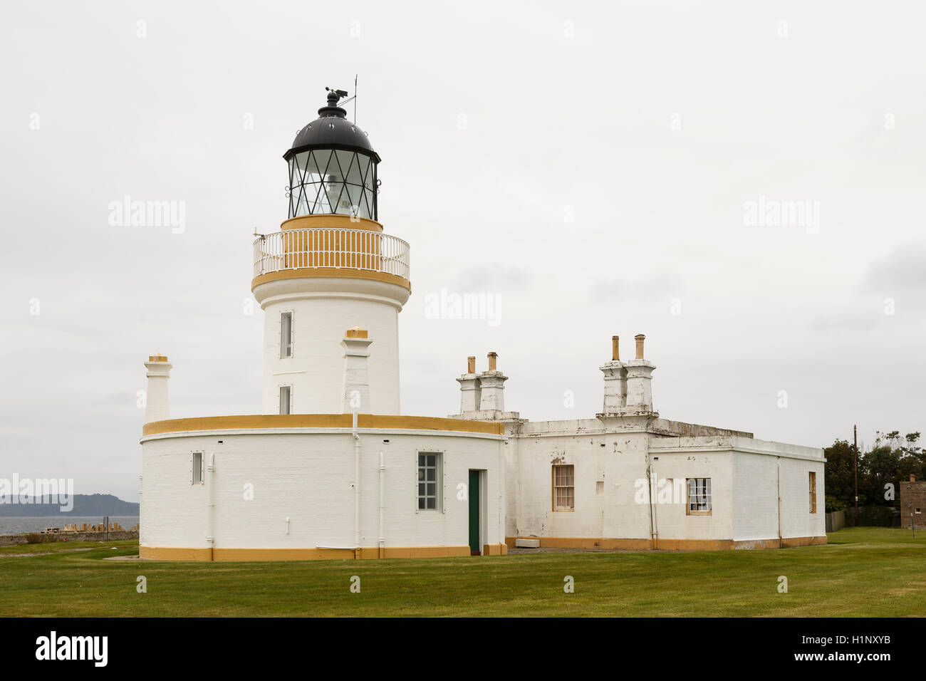 Chanonry Point lighthouse, Black Isle, Ross and Cromarty, in the Scottish Highlands. - Stock Image