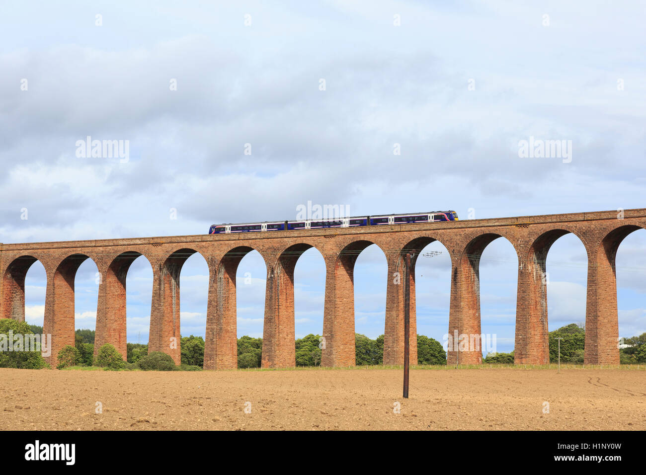 Ferryden Viaduct, near Montrose, Scotland, with a Scotrail diesel multiple unit crossing. - Stock Image