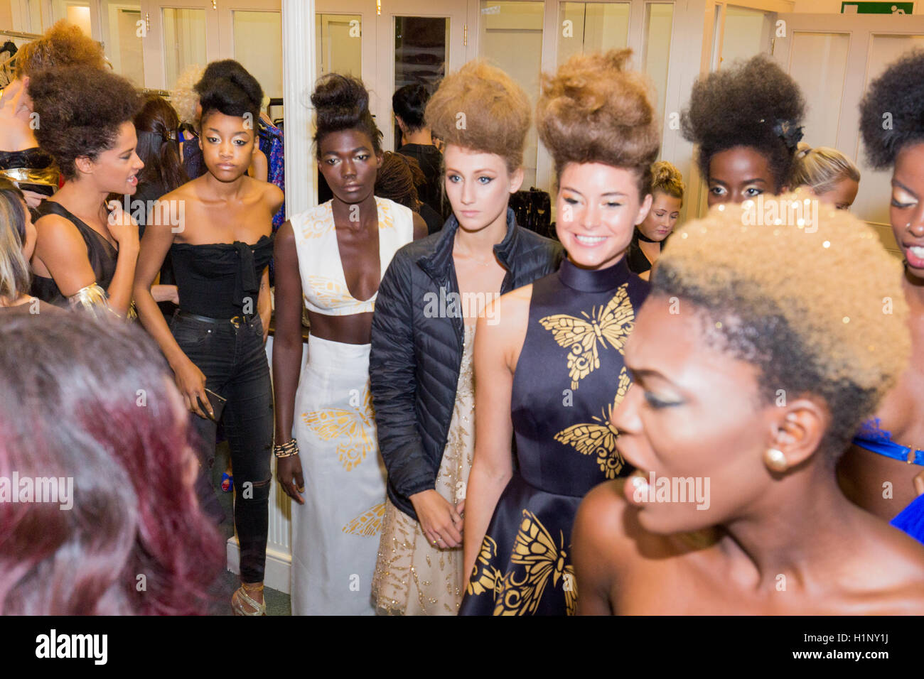 models backstage get ready for the runway test before the BAO TA collection held at the Kensinghton Reformed Church - Stock Image