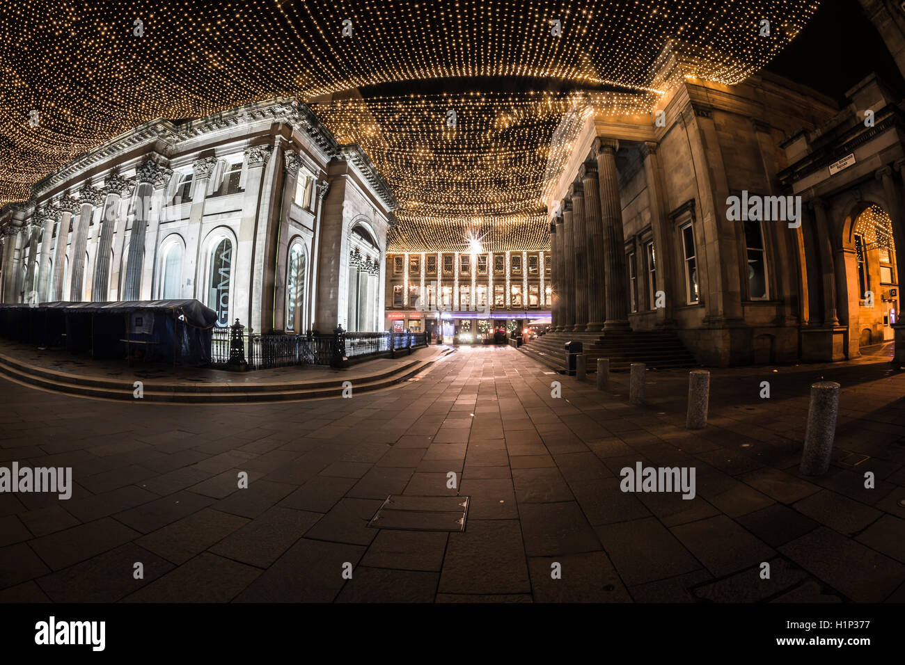 Glasgow Goma royal exchange square night photography lights Scotland town Centre, architecture - Stock Image