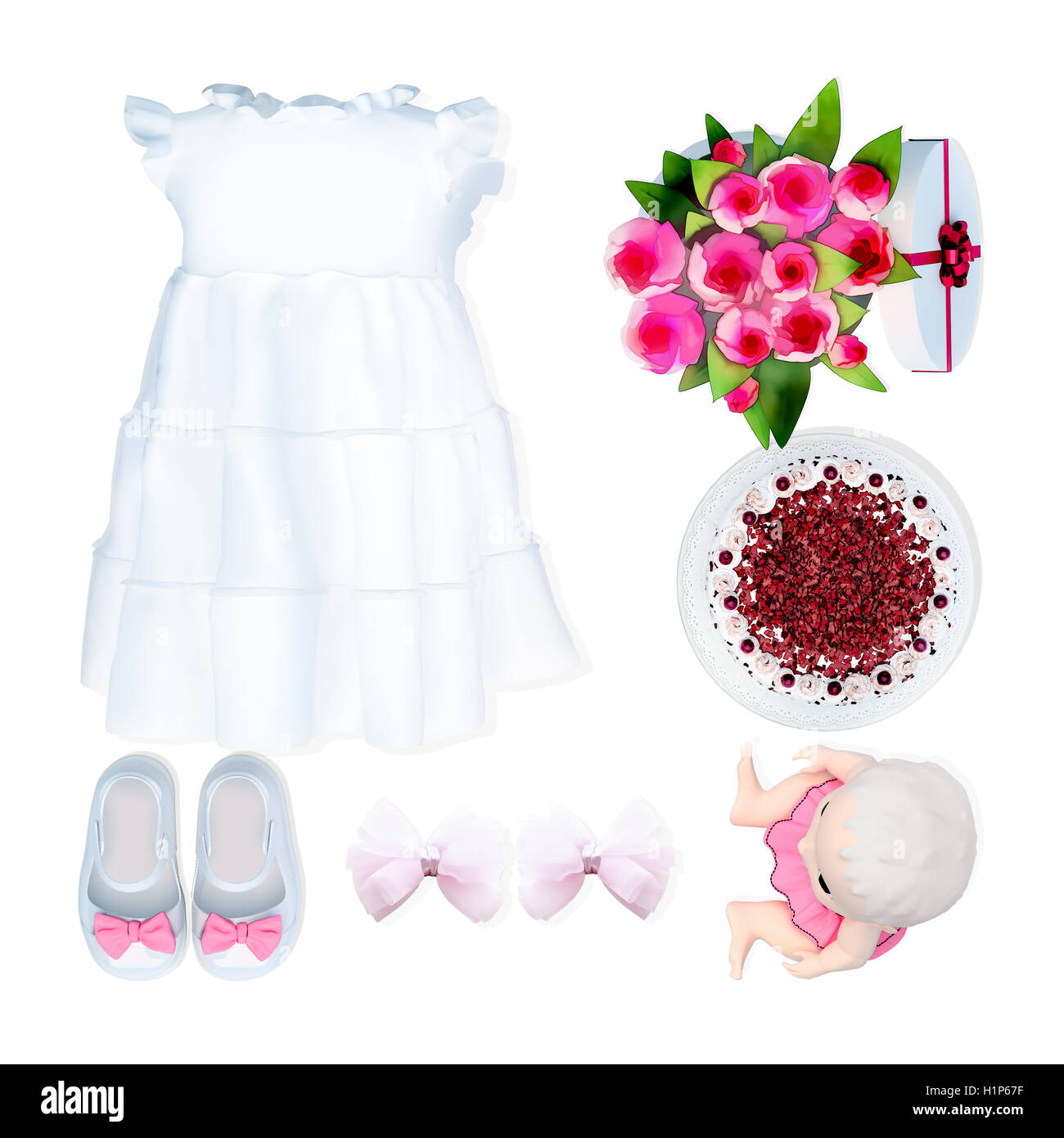 Baby dress and accessories on white background. Birthday. - Stock Image