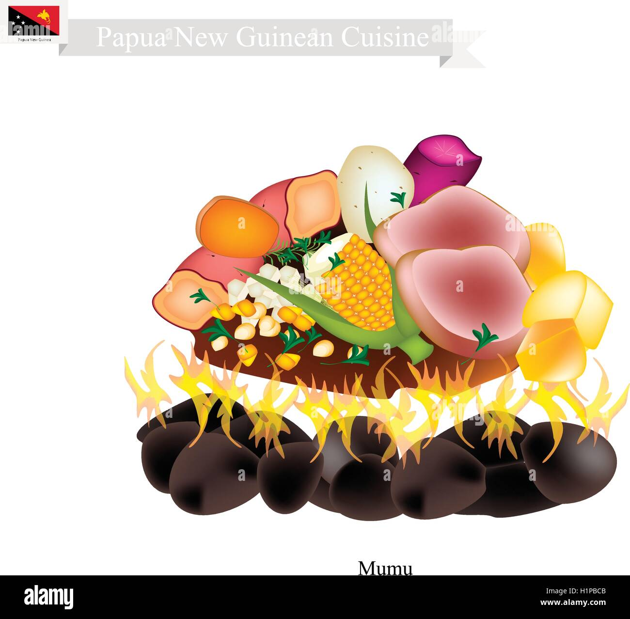 Papua New Guinean Cuisine, Illustration of Mumu or Traditional Maori Food Using Heated Rocks Buried in A Pit Oven. - Stock Vector