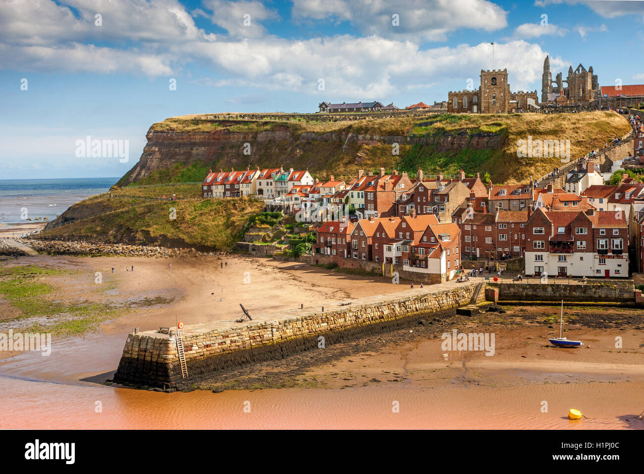 Whitby harbour, Yorkshire, N/E England. - Stock Image