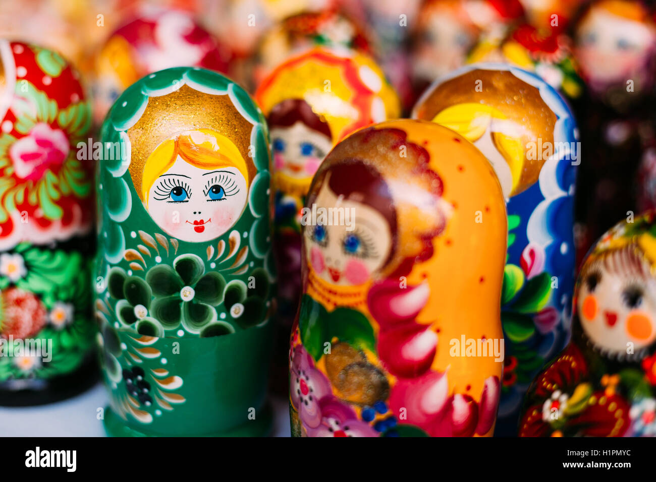 Close View Of The Varicoloured Matryoshka, The Traditional Russian Nesting Dolls, The Famous Old Wooden Souvenir - Stock Image