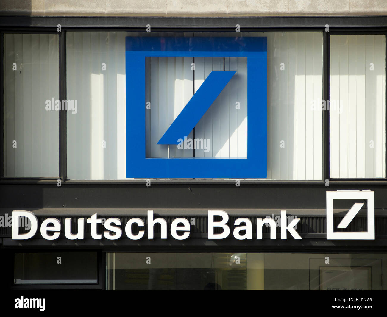Deutsche Bank Logo photographed in the city center of Cologne, Germany - Stock Image