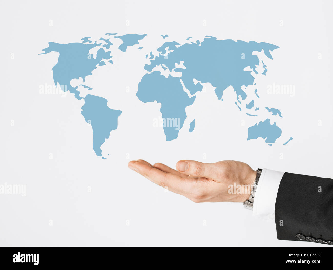 close up of businessman hand showing world map - Stock Image