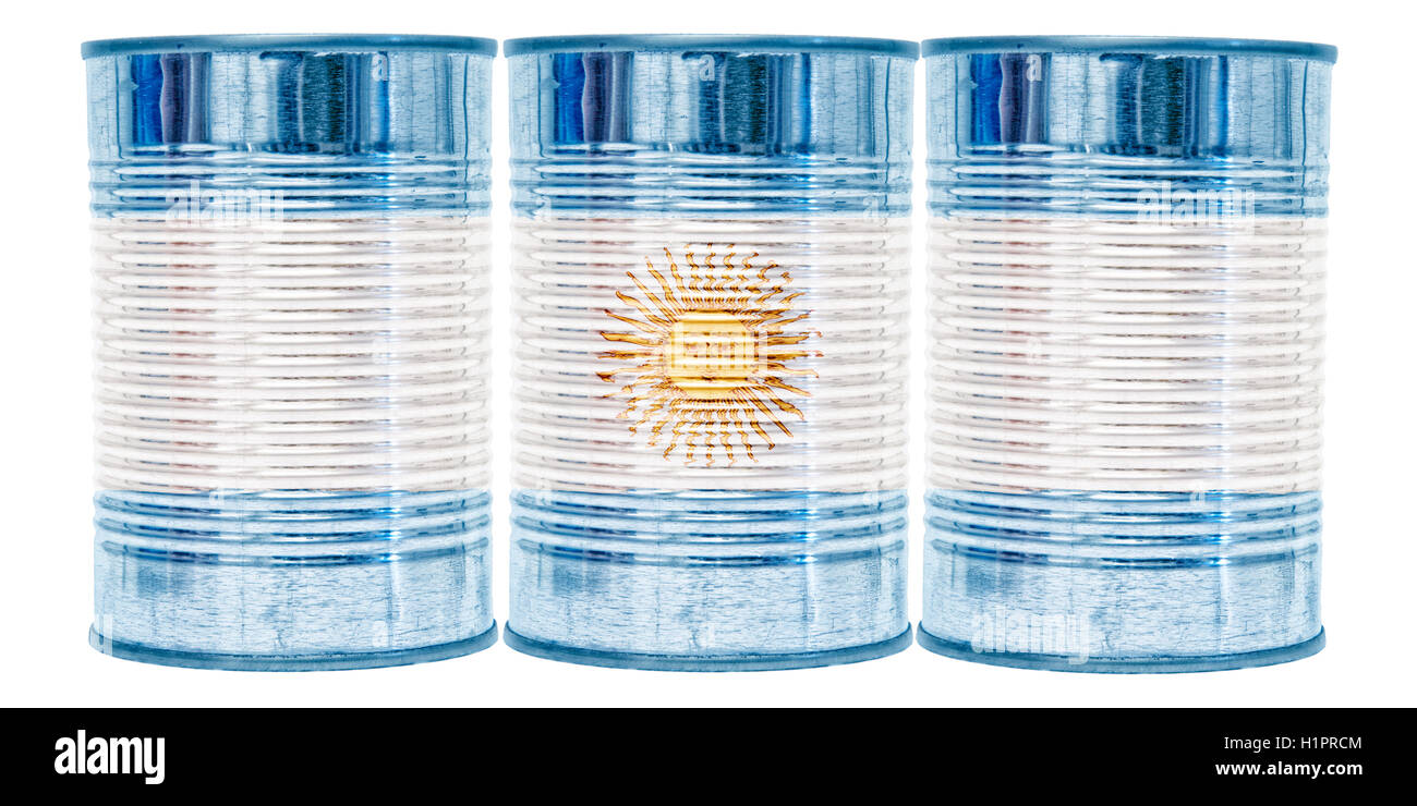 Three tin cans with the flag of Argentina on them isolated on a white background. - Stock Image
