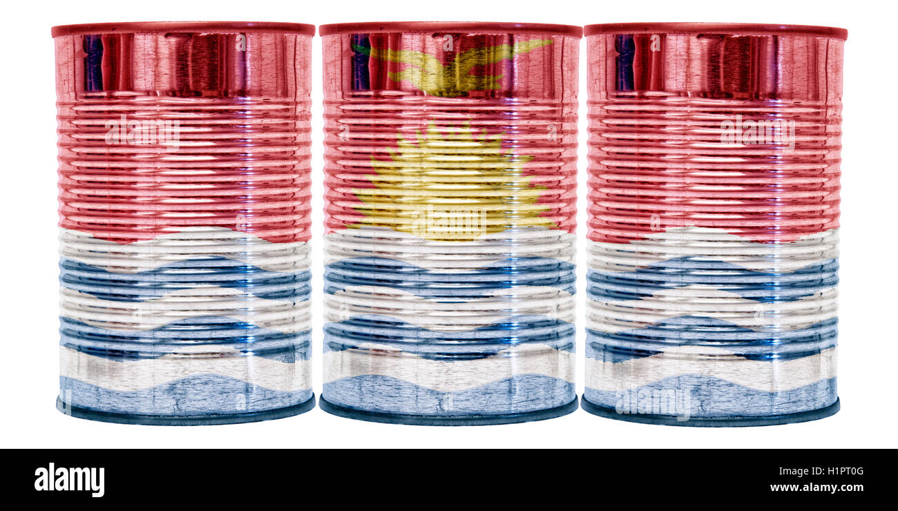Three tin cans with the flag of Kiribati on them isolated on a white background. - Stock Image