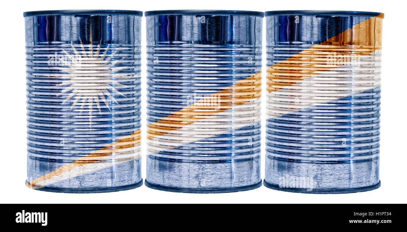 Three tin cans with the flag of Marshall Islands on them isolated on a white background. - Stock Image