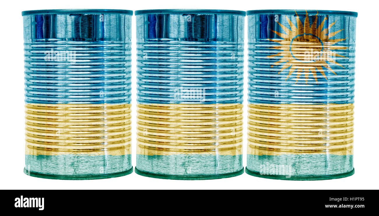 Three tin cans with the flag of Rwanda on them isolated on a white background. - Stock Image