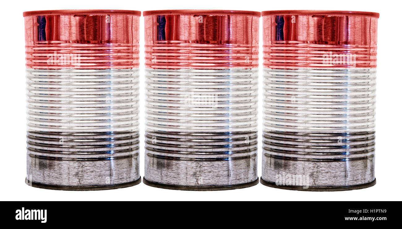 Three tin cans with the flag of Yemen on them isolated on a white background. - Stock Image