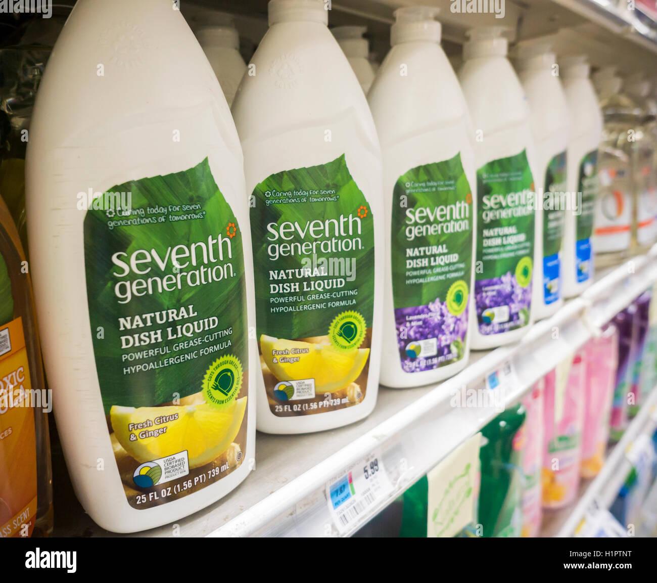 Bottles of Seventh Generation brand dishwashing liquid on a supermarket shelf in New York on Tuesday, September - Stock Image