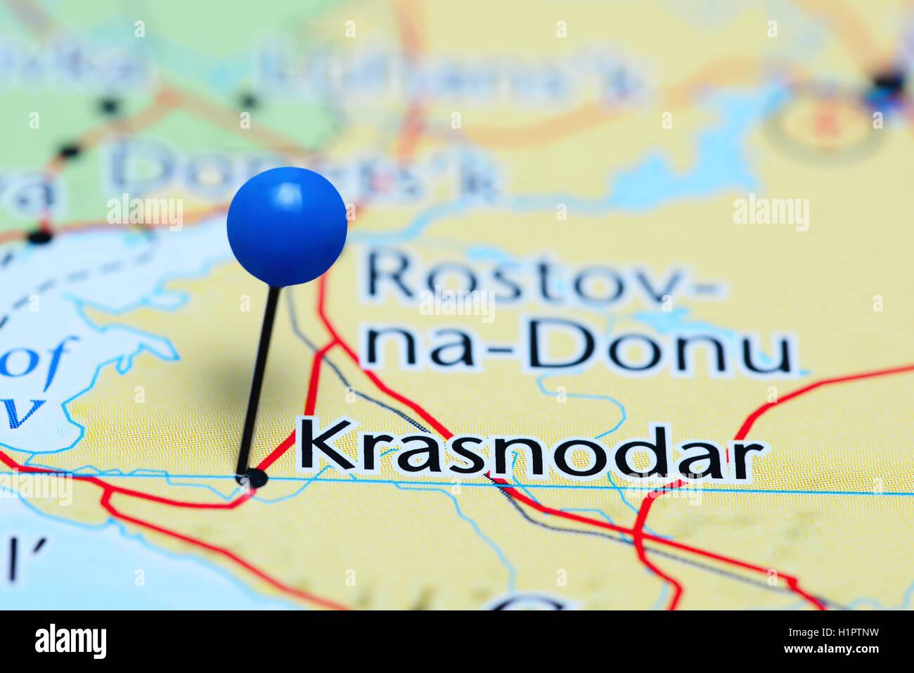 Krasnodar pinned on a map of Russia Stock Photo 121589605 Alamy