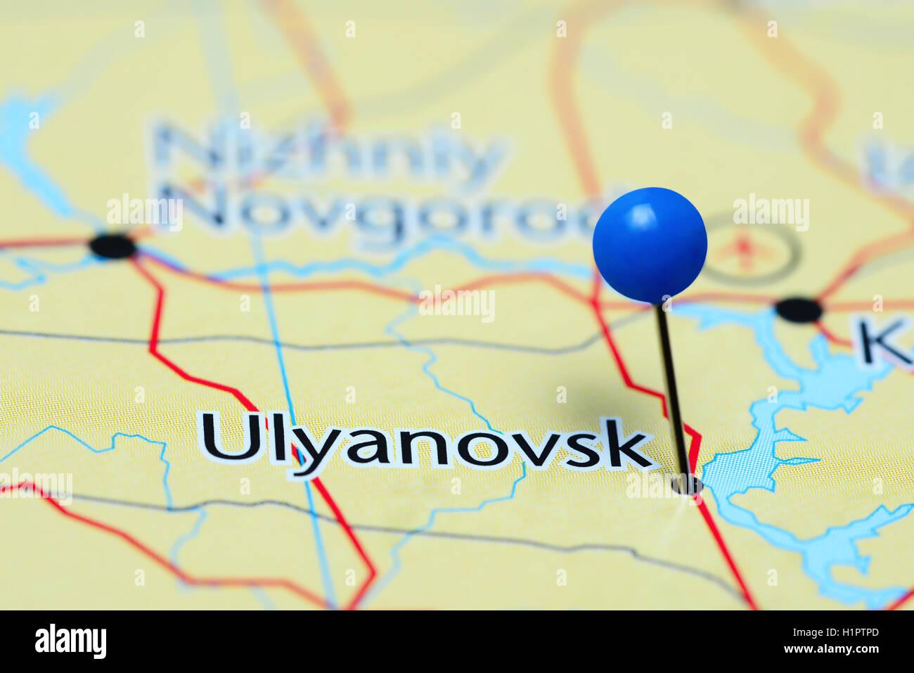 Ulyanovsk pinned on a map of Russia