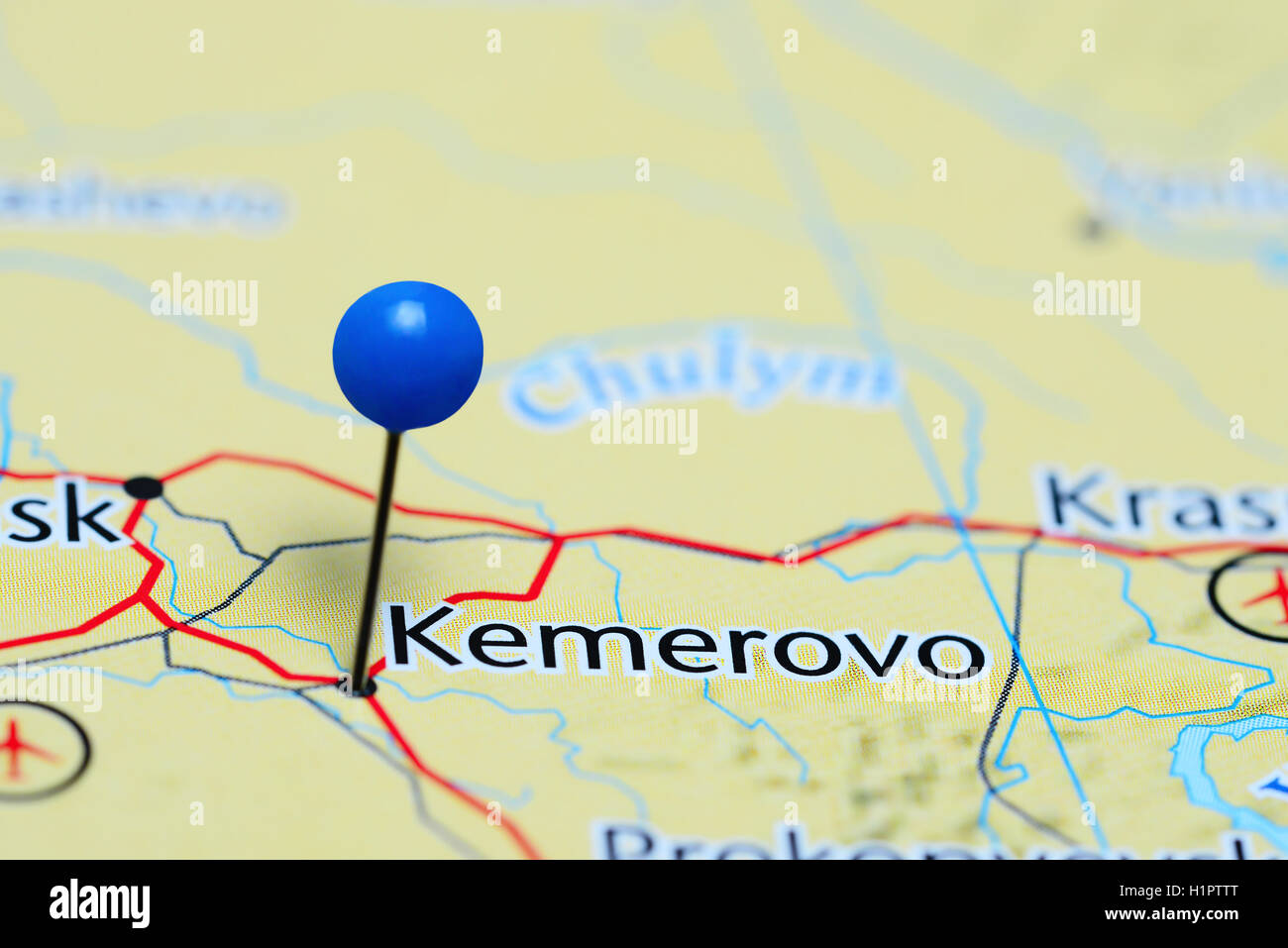 Kemerovo pinned on a map of Russia Stock Photo 121589688 Alamy