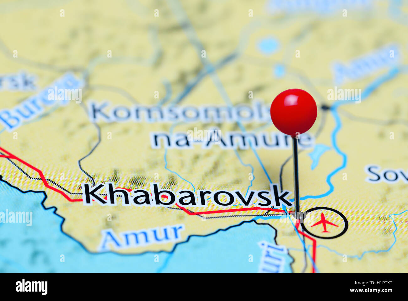 Khabarovsk pinned on a map of Russia - Stock Image