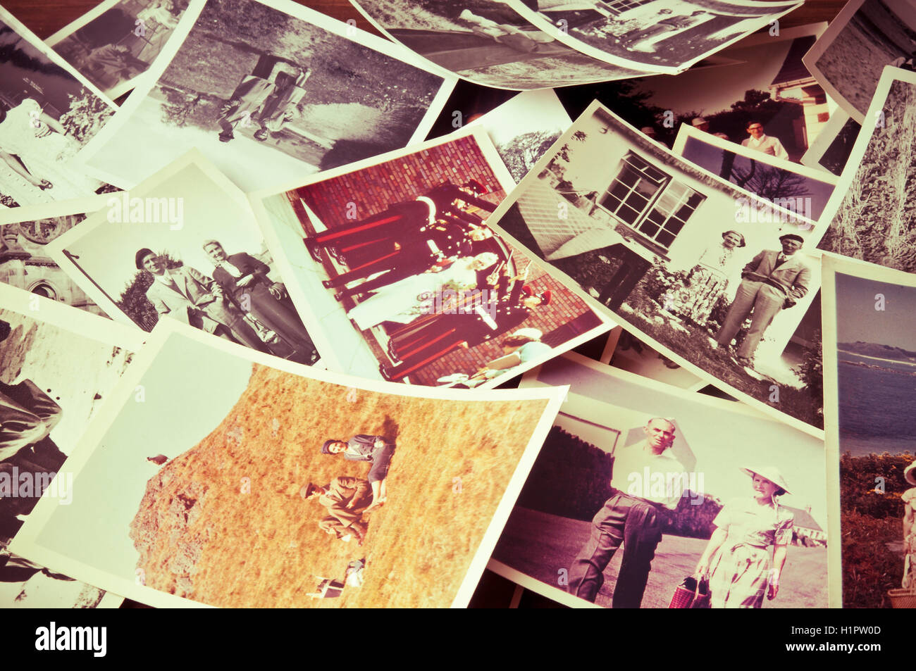 scattered vintage photos from the sixties and seventies - Stock Image