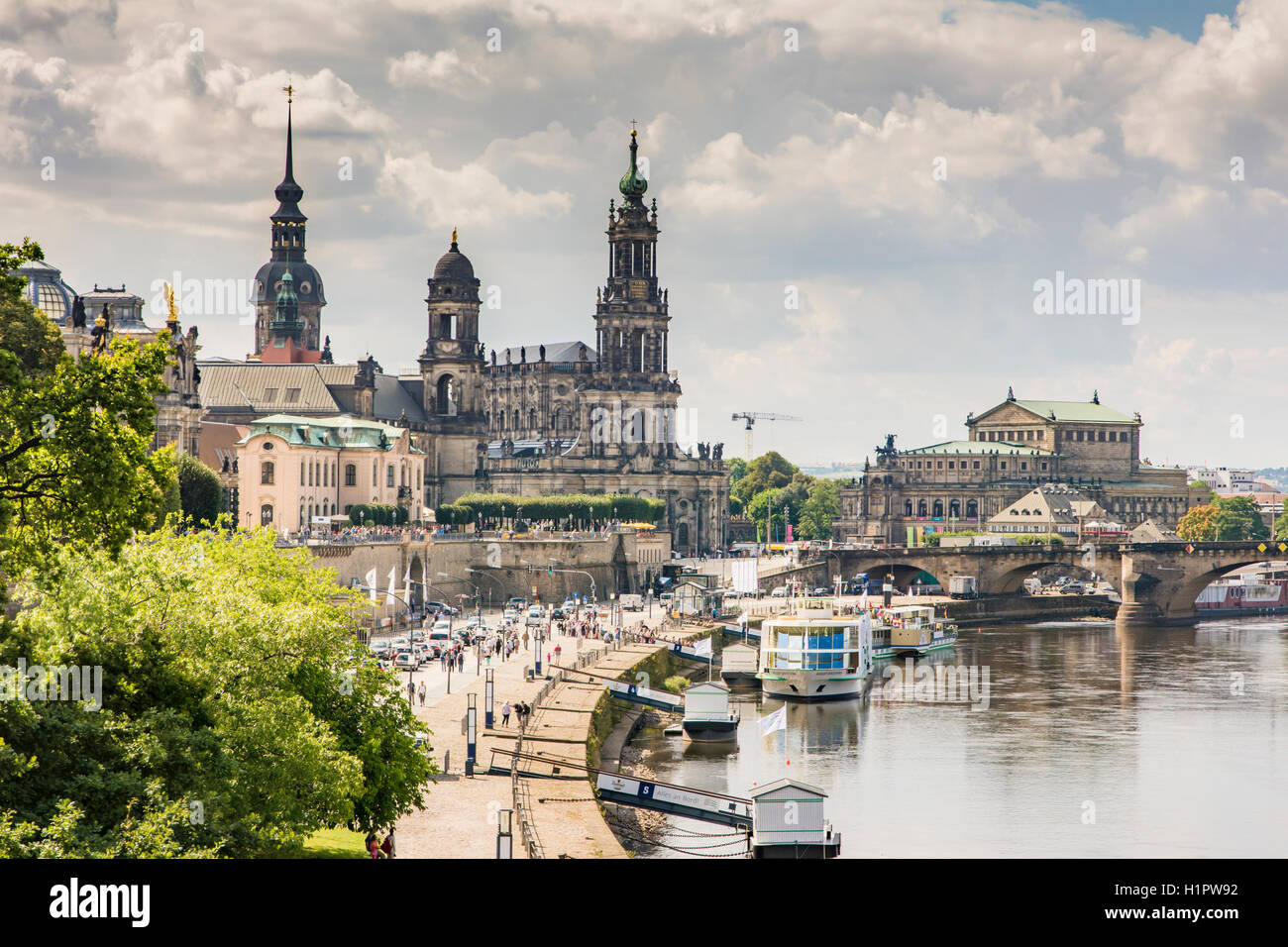 DRESDEN, GERMANY - AUGUST 22: Tourists in the historic center of Dresden, Germany on August 22, 2016. - Stock Image