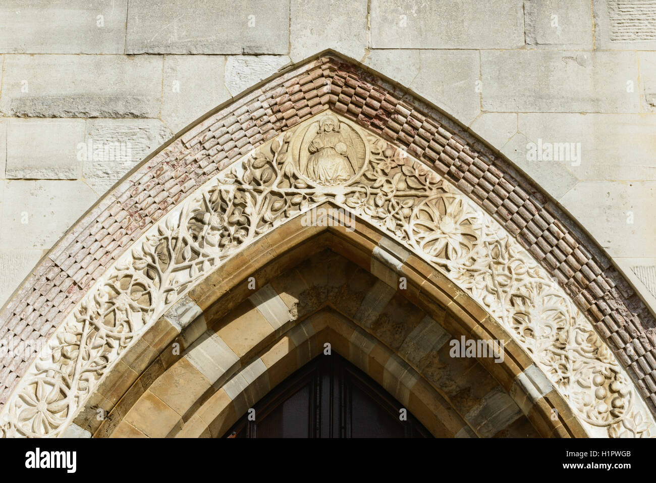 Detail of the entrance arch of the University Museum and Pitt Rivers Museum Oxford England UK - Stock Image