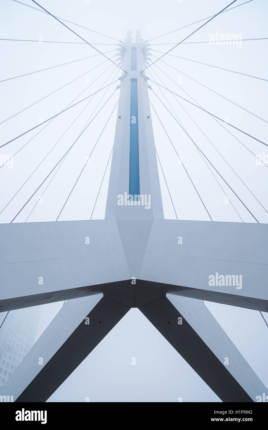 Symmetric view of a bridge in Songdo, Incheon, South Korea, from below. - Stock Image