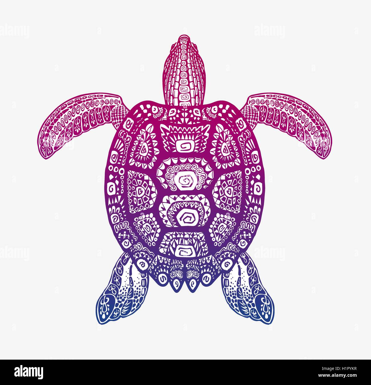 Decorative Ethnic Turtle With Ornamental Pattern Vector Tribal Totem Animal