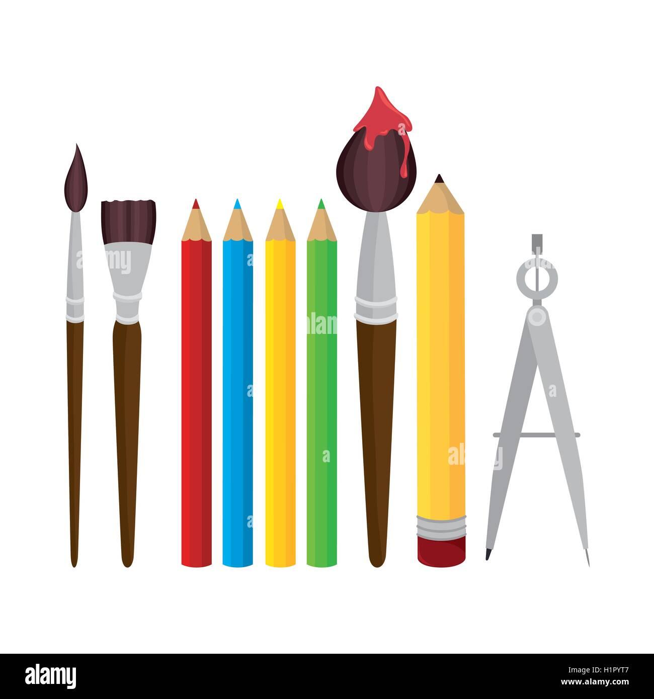 set elements school tolls design - Stock Vector