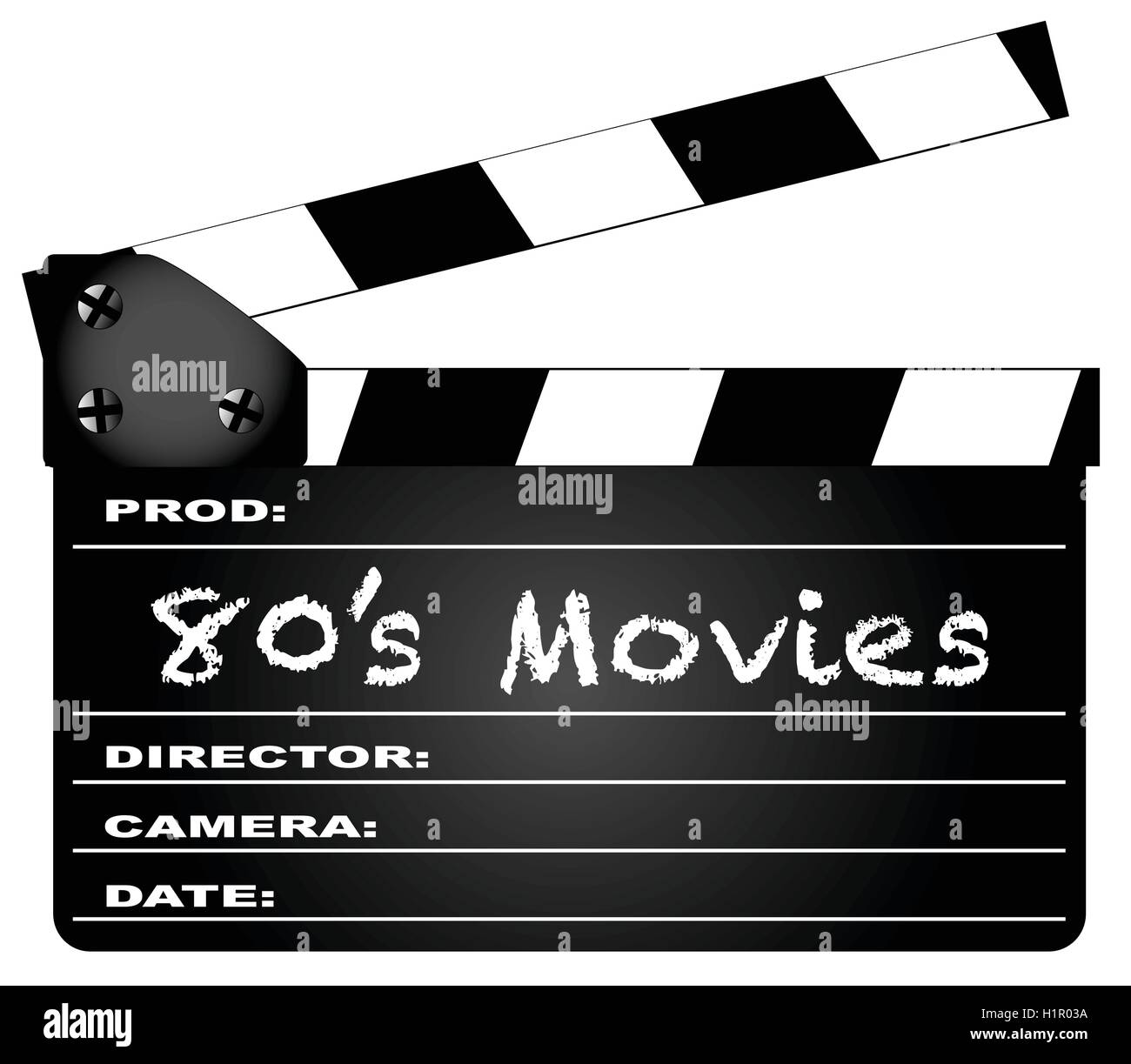 A typical movie clapperboard with the legend 80's Movies isolated on white. - Stock Vector