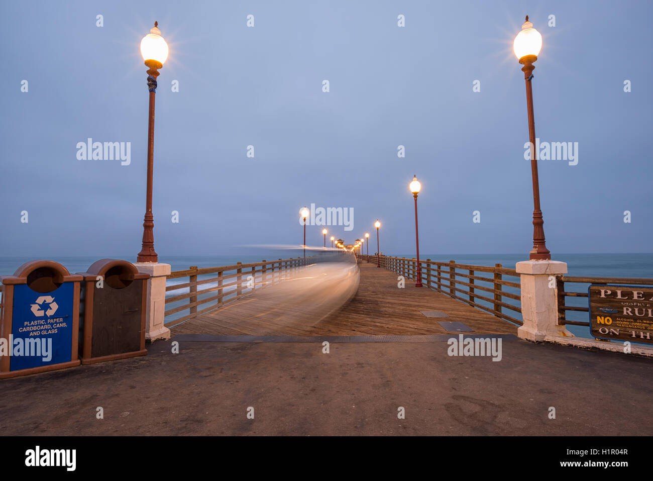 Oceanside Pier, motion blur, cloudy morning. Oceanside, California. - Stock Image