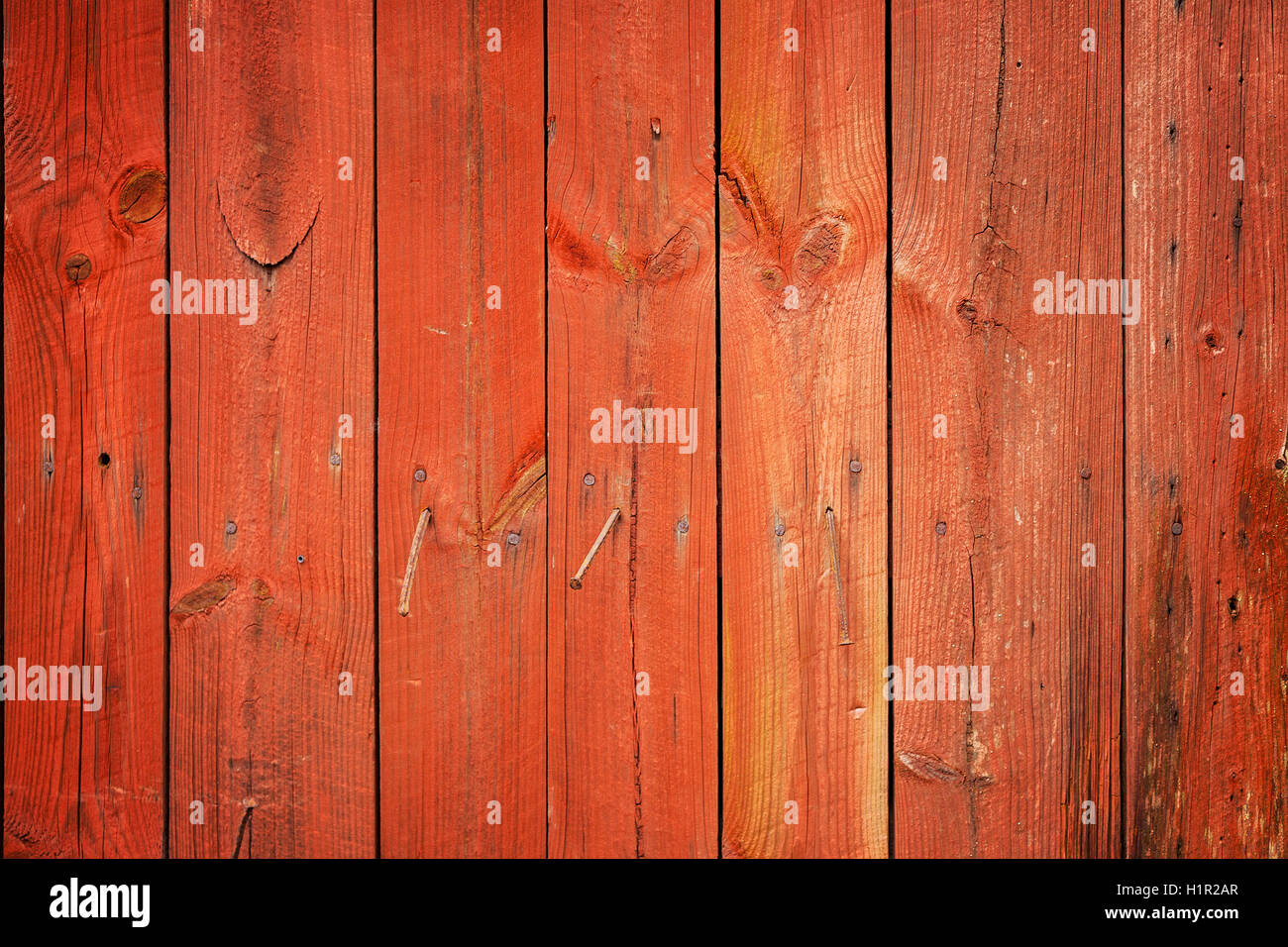 Red wood planks background. - Stock Image