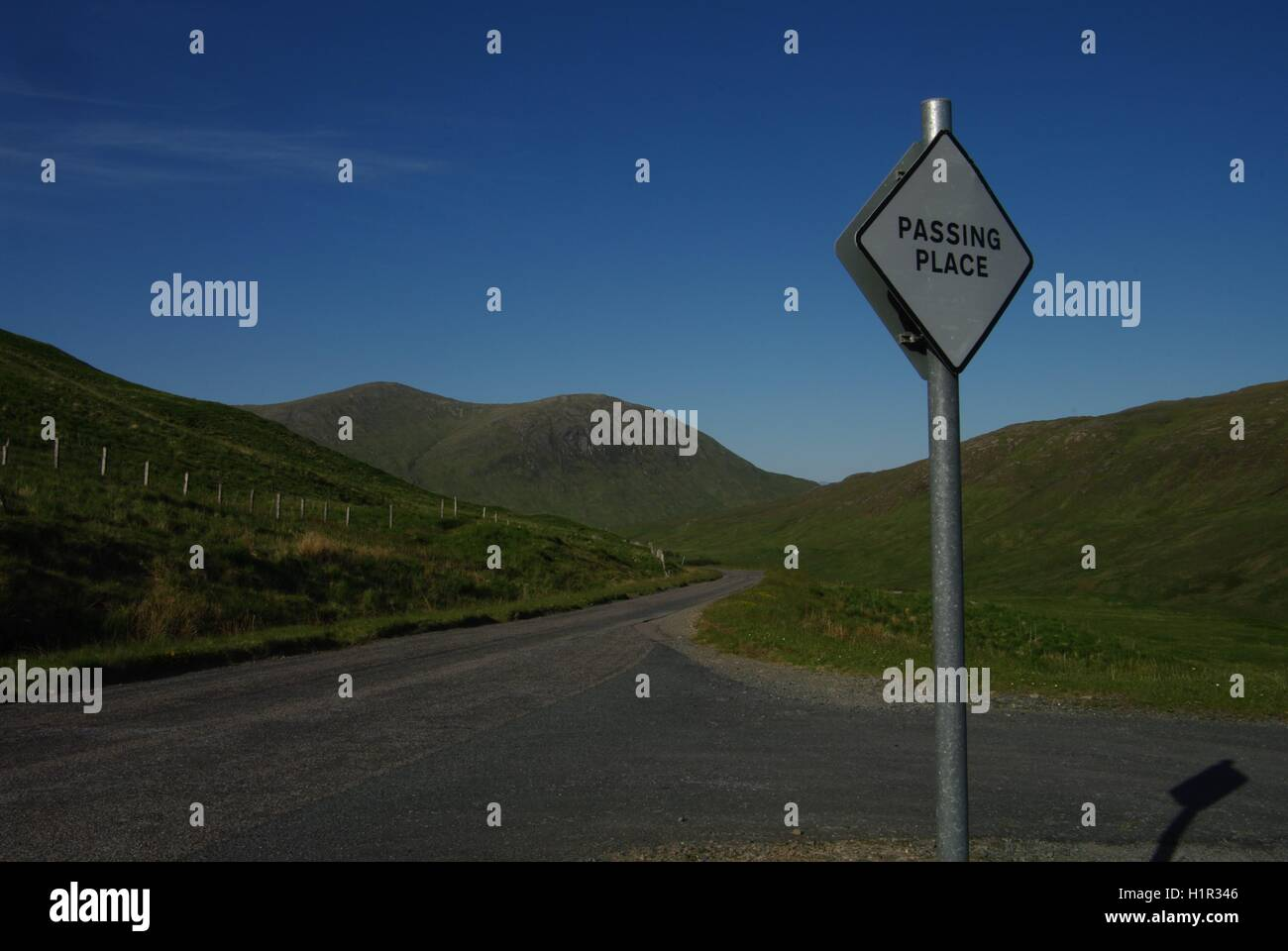 Passing Place, Glen More, Isle of Mull, Scotland - Stock Image
