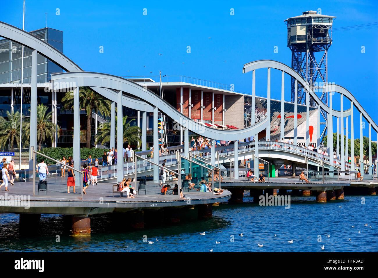 The rambla del mar,  Barcelona, Spain - Stock Image